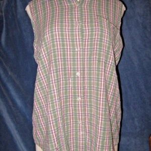 Green Blue Red Plaid Button Up Sleeveless Top 20W
